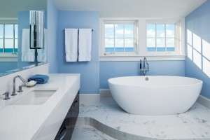 Andersen windows in a renovated bathroom