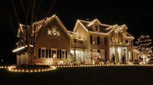 Christmas lights on a house in Hagerstown, MD